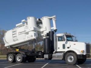 Supersucker High Dump Vacuum Truck With Rear End Raised Halfway