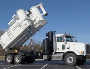 Supersucker High Dump Vacuum Truck With Rear End Fully Raised